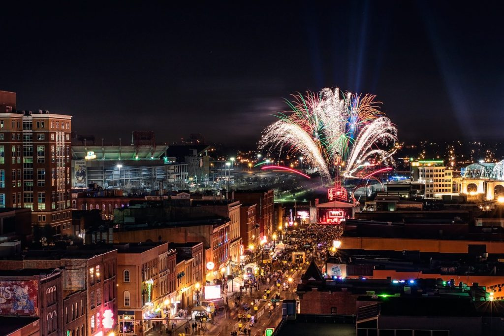 A view of fireworks during New Year.