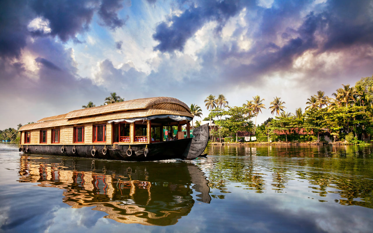 A view of houseboat in Alappuzha, Kerala.